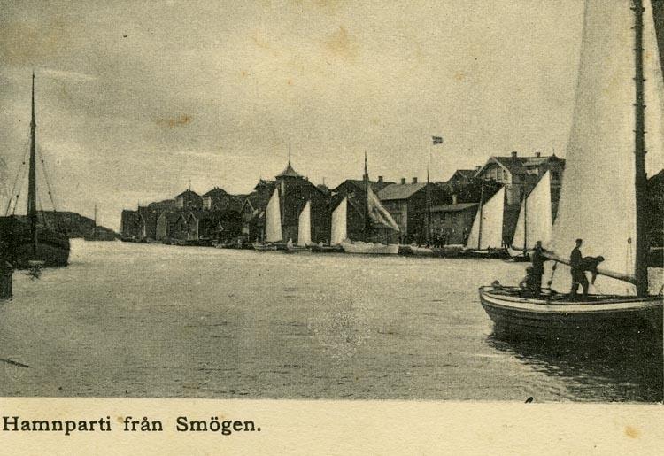 Notering på kortet: Hamnparti från Smögen.
