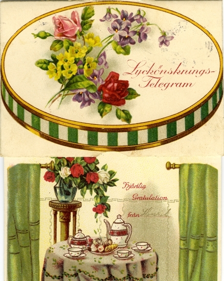 Notering på kortet: Lyckönsknings-Telegram. Hjärtliga Gratulationer från. Henrik.