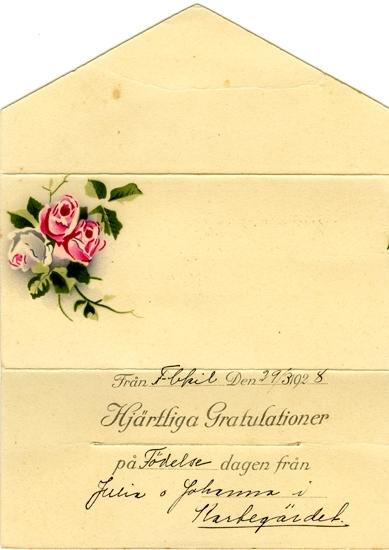 Notering på kortet: Från Fbkil Den 29/3 1928. Hjärtliga Gratulatiner på Födelsedagen från Julia o Johanna i Kartgärdet.