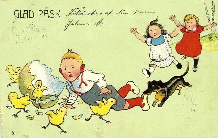 Notering på kortet: Glad Påsk tillönskas af din kusin Johan A.