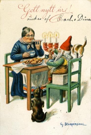 """Kort: """"Gott nytt år"""". Husmor och tomte dricker kaffe vid köksbordet."""