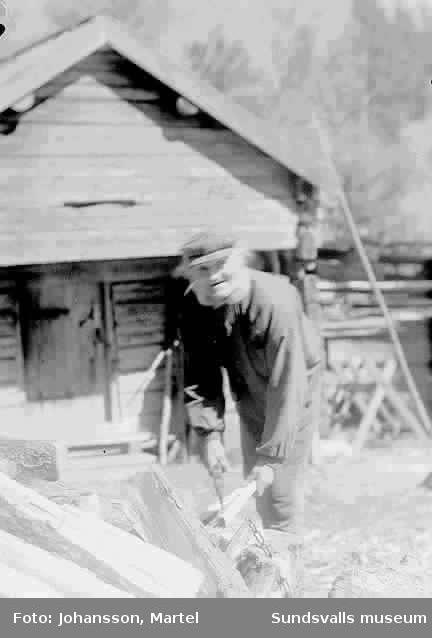 """Porträtt av Ingeborg Muhrs morfar 87 år 1915, från Värmland, som hugger ved på """"Brännsveden"""". Barnen Perssons farfar."""