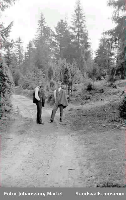 Ttvå män på en skogsväg.