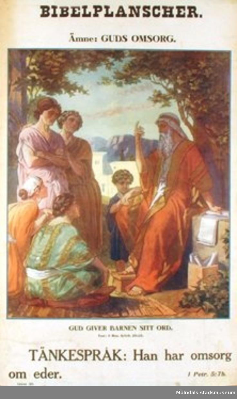 Kristendomskunskap. Bibelplanscher: Guds omsorg. Gud giver barnen sitt ord. (Mos. 6: 6-9, 20-25).