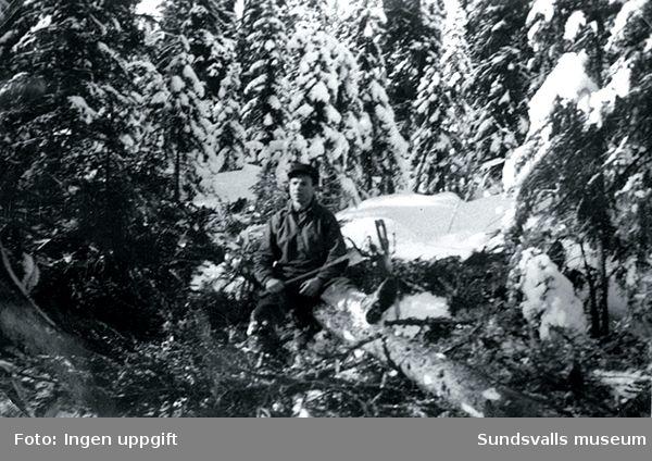 Einar Lian på skogsarbete i Slammeråsen, Bräcke, 1943.