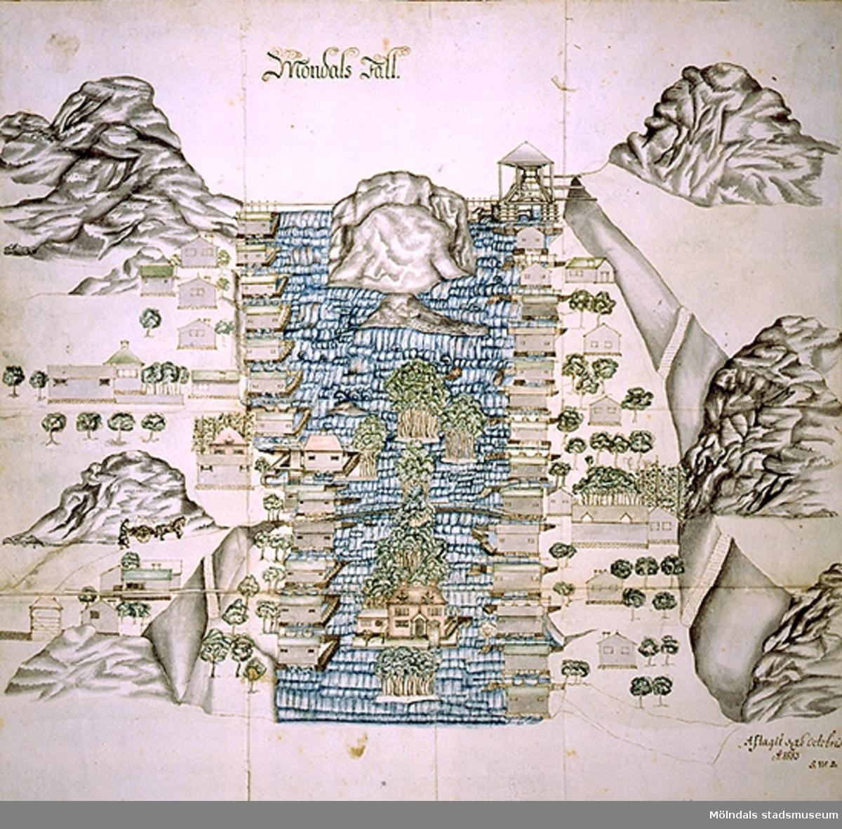 Reproduktion av gammal akvarell över Mölndalsfallen. Originalet hänger i Kungliga bibliotekets (D.G. Neschers) samling och är från 26 oktober 1693, signerad S.W.B. (Staffan Wolter Bergh, 1671-1745). Visar schematiskt Mölndalsfallen med flankerande kvarnar och andra byggnader.