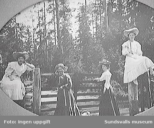 fr.v. Elsa S, Nathalia S, Maria (Macka) Nordberg, Greta S.