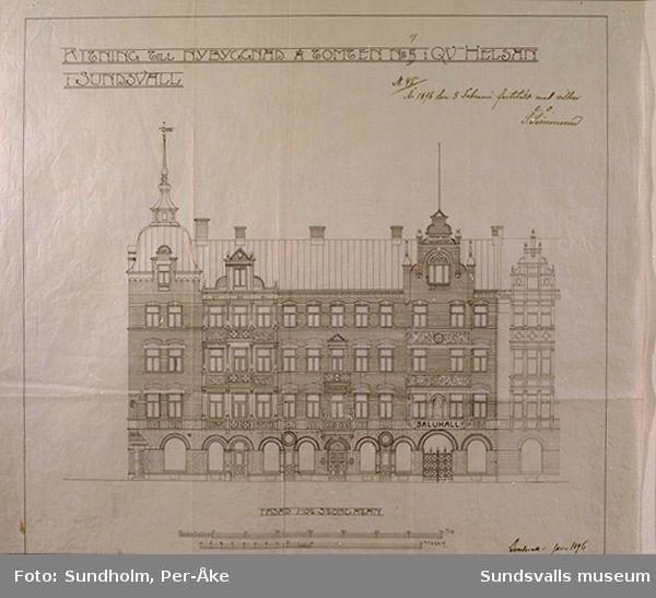 03 Kv Hälsan 7, fasadritning signerad Gustaf Hermansson 1896.04 Kv Hälsan 7, planritning bv, signerad Gustaf Hermansson 1896.