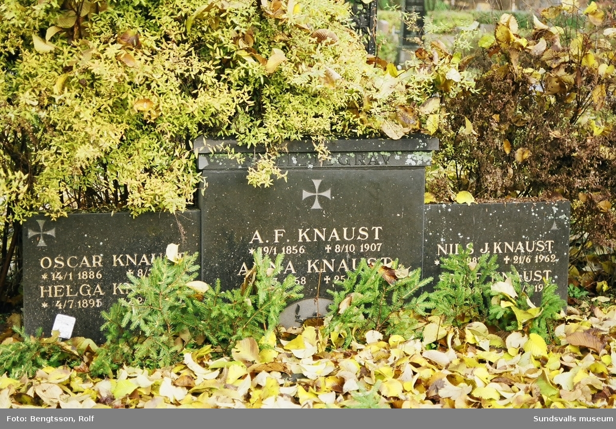 Knaust familjegrav. Efter stadsbranden byggde Adolf Fredrik Knaust ett provisoriskt hotell på Kyrkogatan 8 medan det nya hotellet i sten uppfördes. A F Knaust hade köpt en tomt i hörnet mellan Storgatan och Trädgårdsgatan (nuvarande Nybrogatan). Där skulle hotell Nord återuppbyggas men i sten. Den 9 november 1891 öppnade det nya hotell Knaust. A F Knaust var gift med Anna Charlotta f Svensson, tillsammans fick de två söner, Oscar f 1886, som sedemera kom att ta över familjens hotellrörelse och Nils f 1897, som med tiden kommer att bli civilingengör i Alby