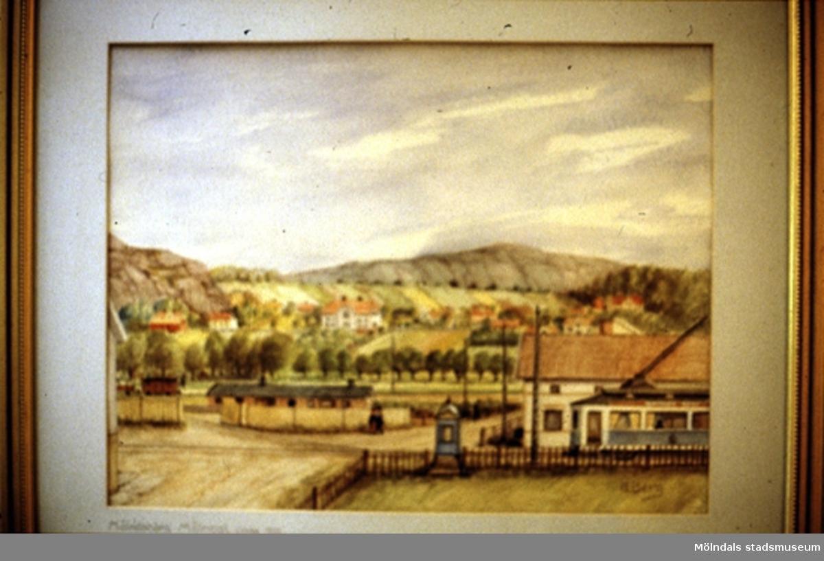 Landskapsvy över Mölndal.En tavla målad av den naivistiske mölndalskonstnären Knut Berg.