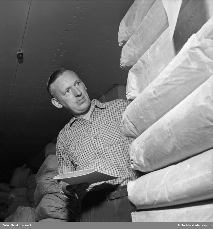 Reportage från Papyrus pressvisning i Mölndal, 29/8 1955. En man i arbete på Papyrus.