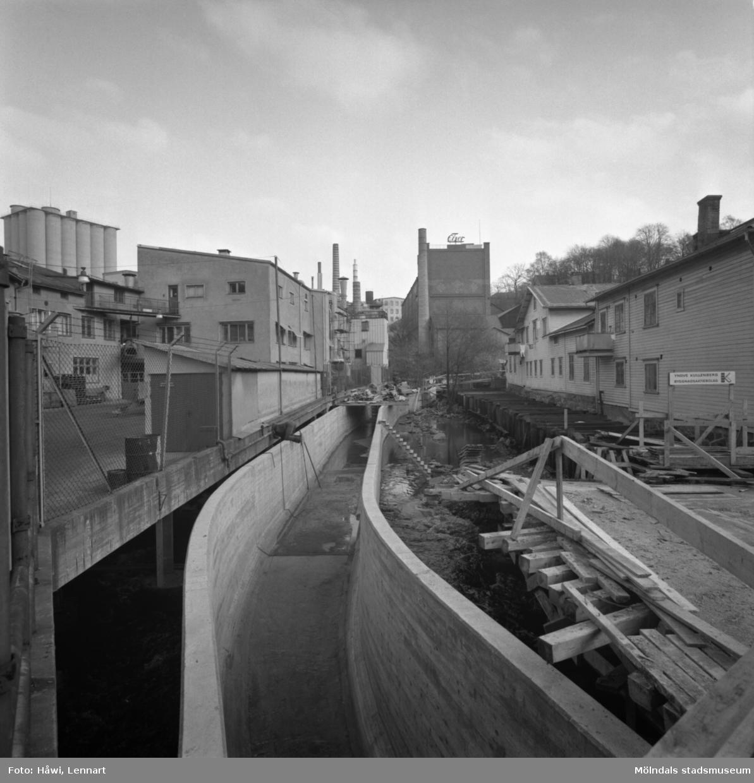 Vattenränna uppströms Forsebron i Mölndal, 31/10 1963.