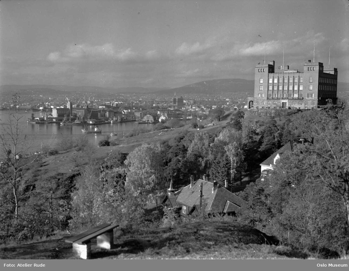 utsikt, løvskog, bolighus, Sjømannsskolen, fjord, by