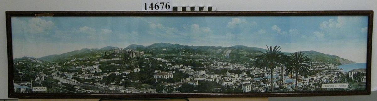 Fotografi, färg-, inom glas och ram. Motiv: Panorama över Funchal. Text: Madeira, Panorama of  Funchal. Neg.nr 5135.