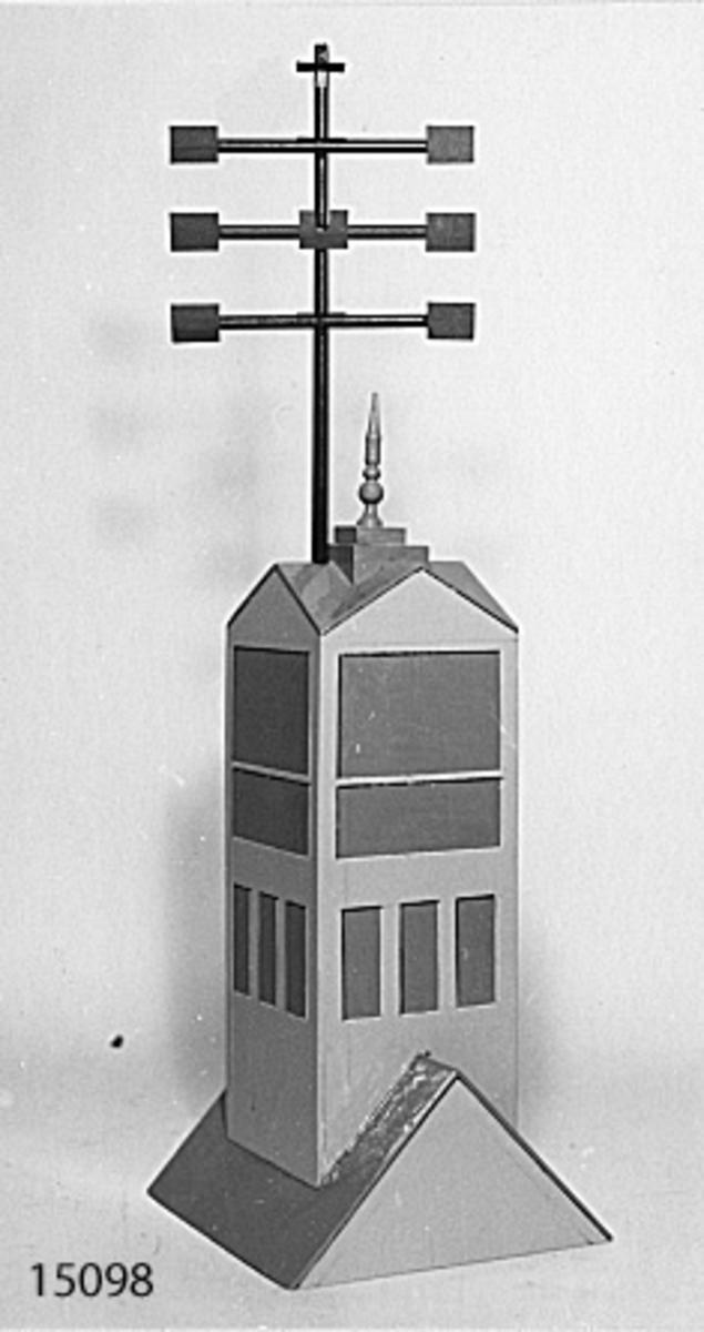 Telegraf optisk modell av trä. Pricipmodell över den optiska telegraf som fanns på Karlskrona örlogsvarv. Byggd efter ritning i museets arkiv (nr 3373, fack 26).