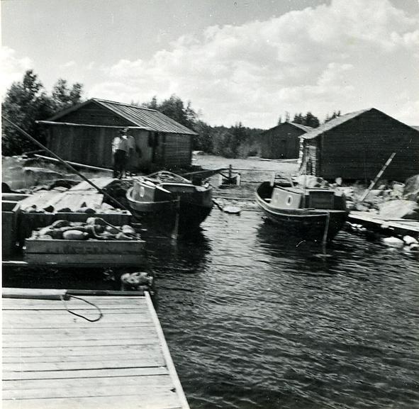 Motorbåtar för fiske med skötar.