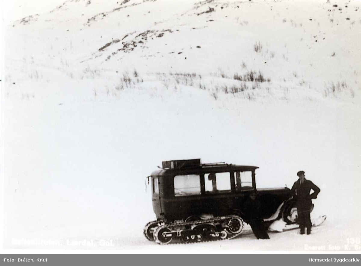 Beltebilruta Lærdal-Gol på Hemsedalfjellet. Sjåfør Svein Hovland Steinklepp