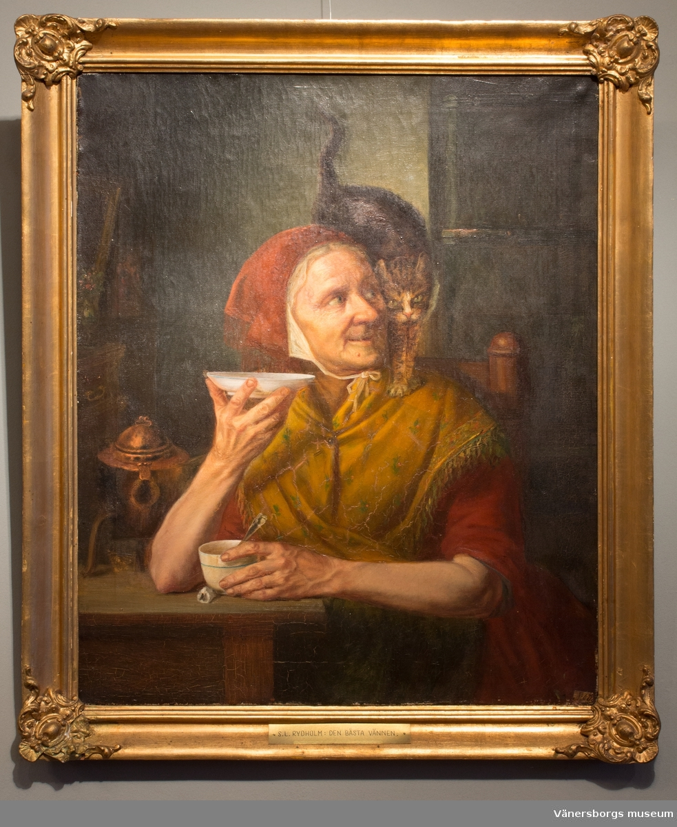 Bästa vännen.  Målning av en gumma som sitter vid ett bord och dricker kaffe på fat. På hennes axel står en katt.
