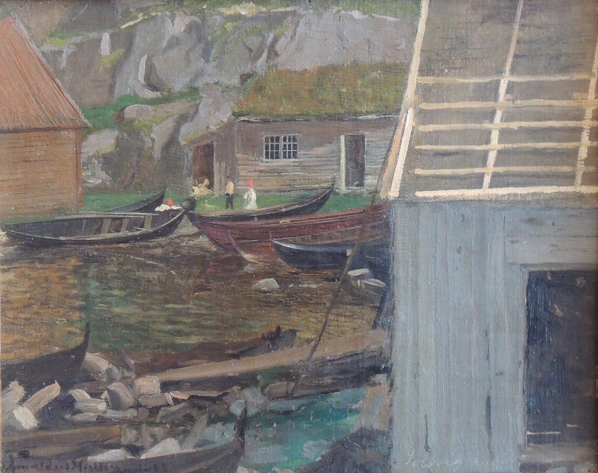 Skjærgård. Båter og båthus.