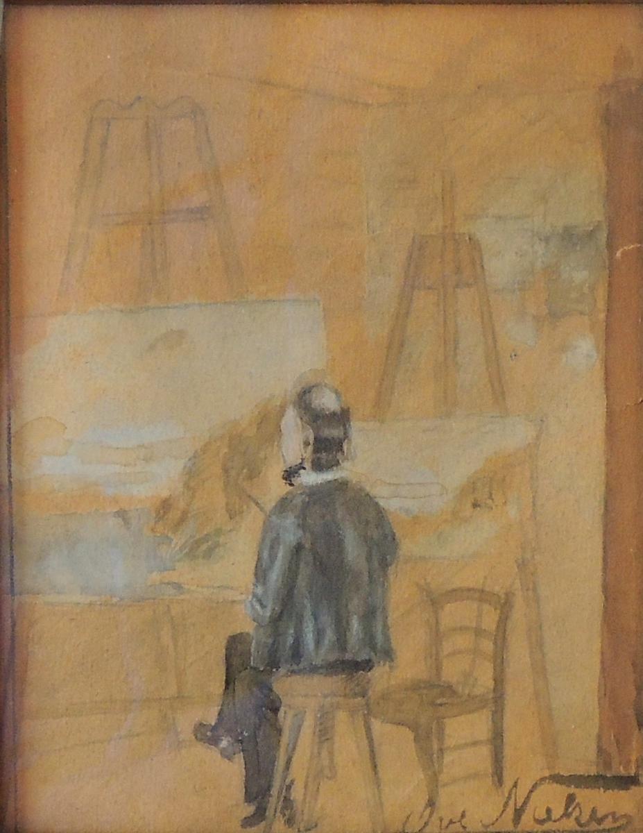 Amaldus Nielsen på atelieret.