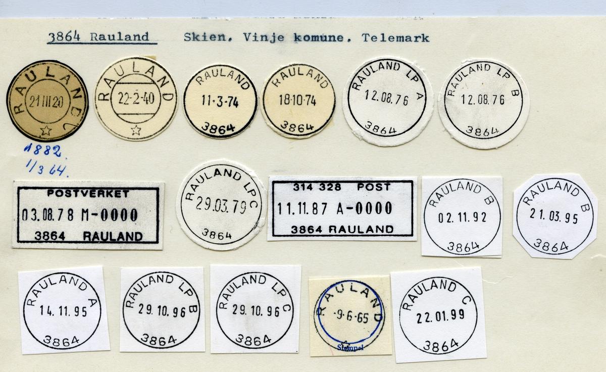 Stempelkatalog 3864 Rauland, Skien, Vinje, Telemark
