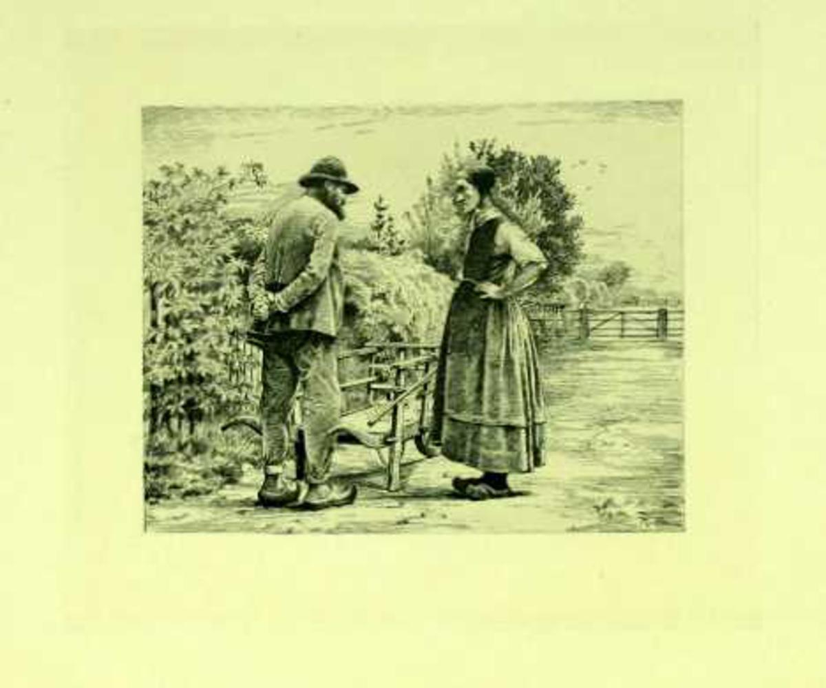 Mann og kvinne kledd i arbeidsklær møtes på en vei.