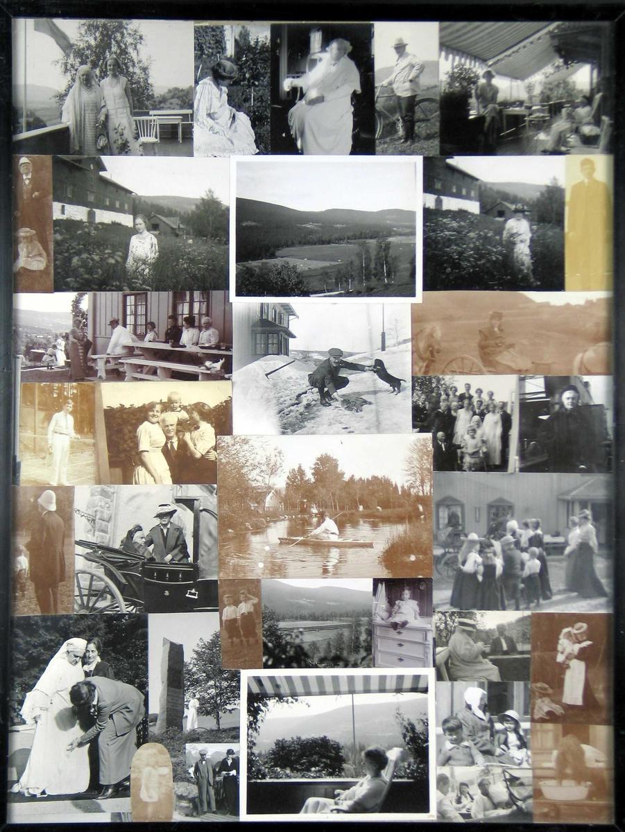 Fotomontasje i svart/hvitt rammet inn med glass og svart ramme. Amatørbilder.