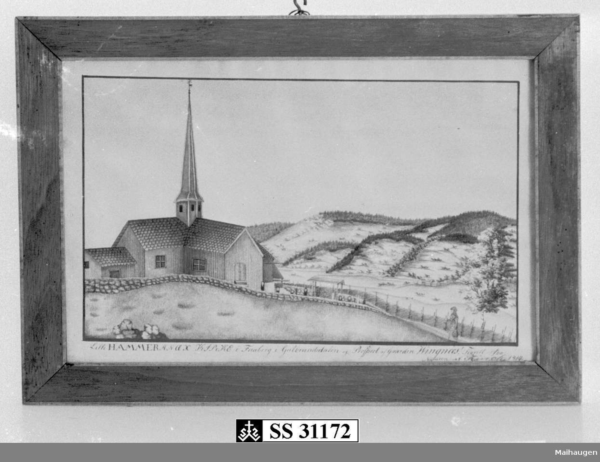 Gamle Lillehammer kirke og Vingnes i bakgrunnen.