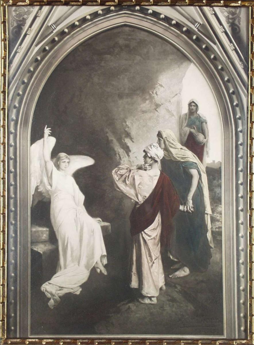Tre kvinner og en engel i en hule.