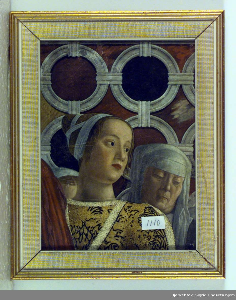 Utsnitt av et større bilde. Vi ser portrettet av en ung kvinne og en eldre nonne.