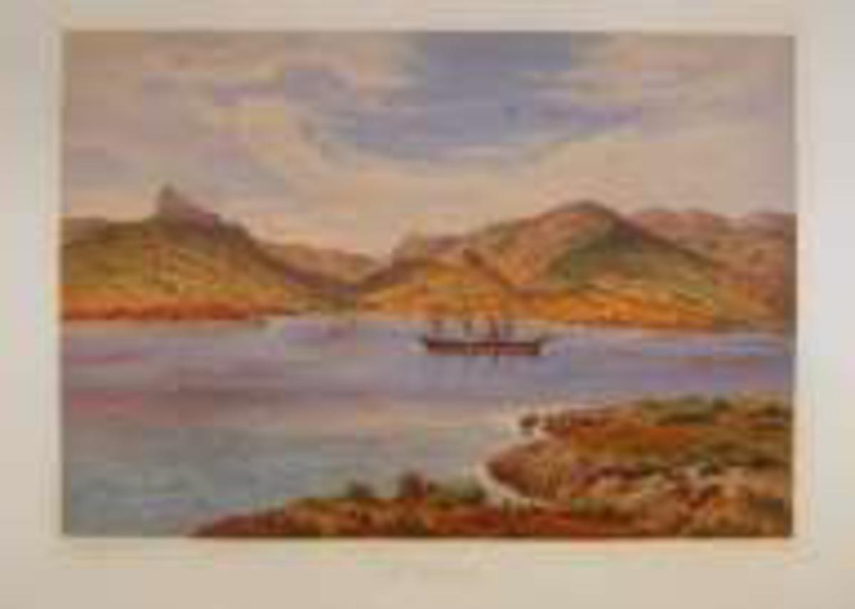 Fjordlandskap med skip