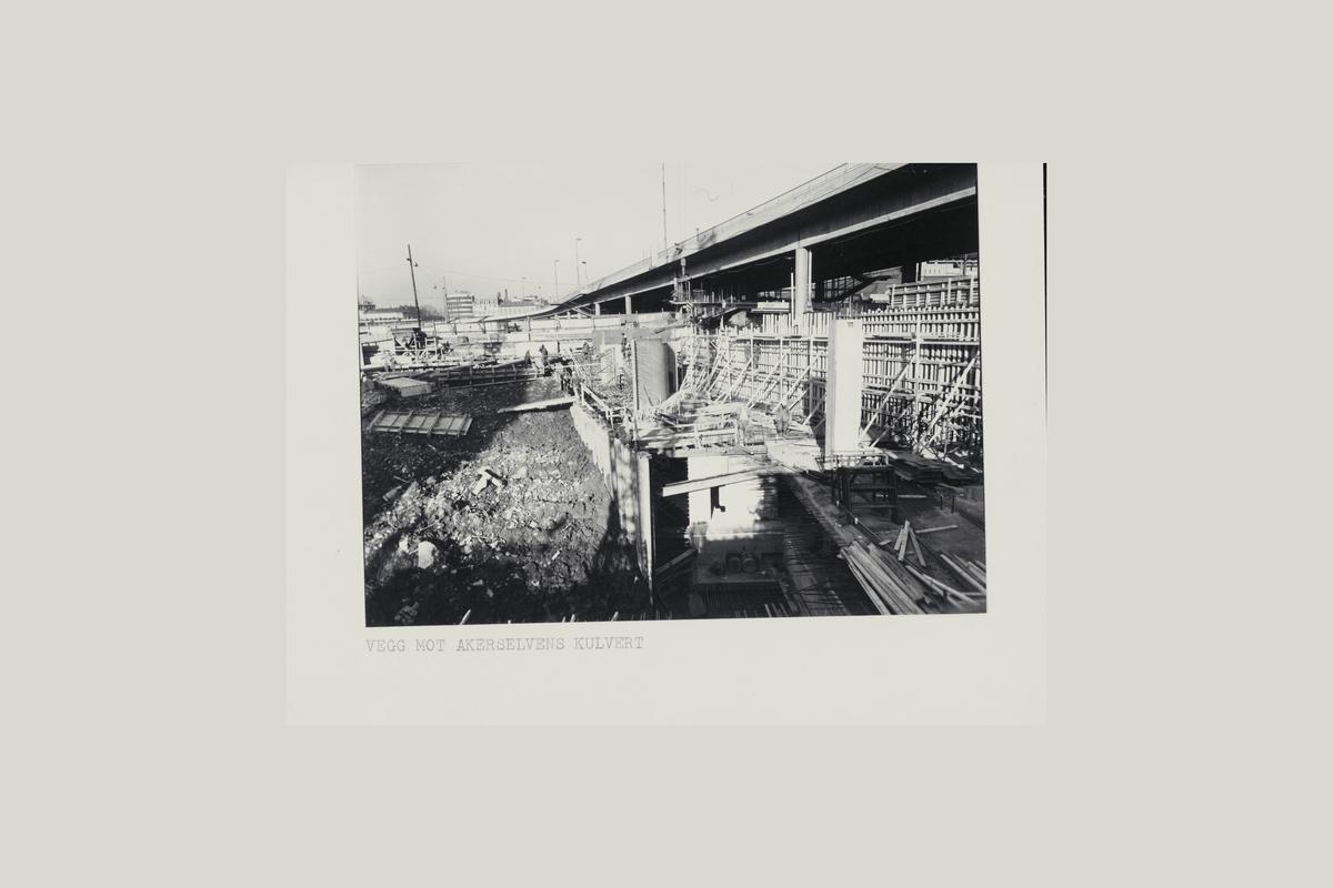 eksteriør, postterminal, Oslo, Postgiro, byggeprosess, november 1973, kjørerampe, øvre kjeller s-37