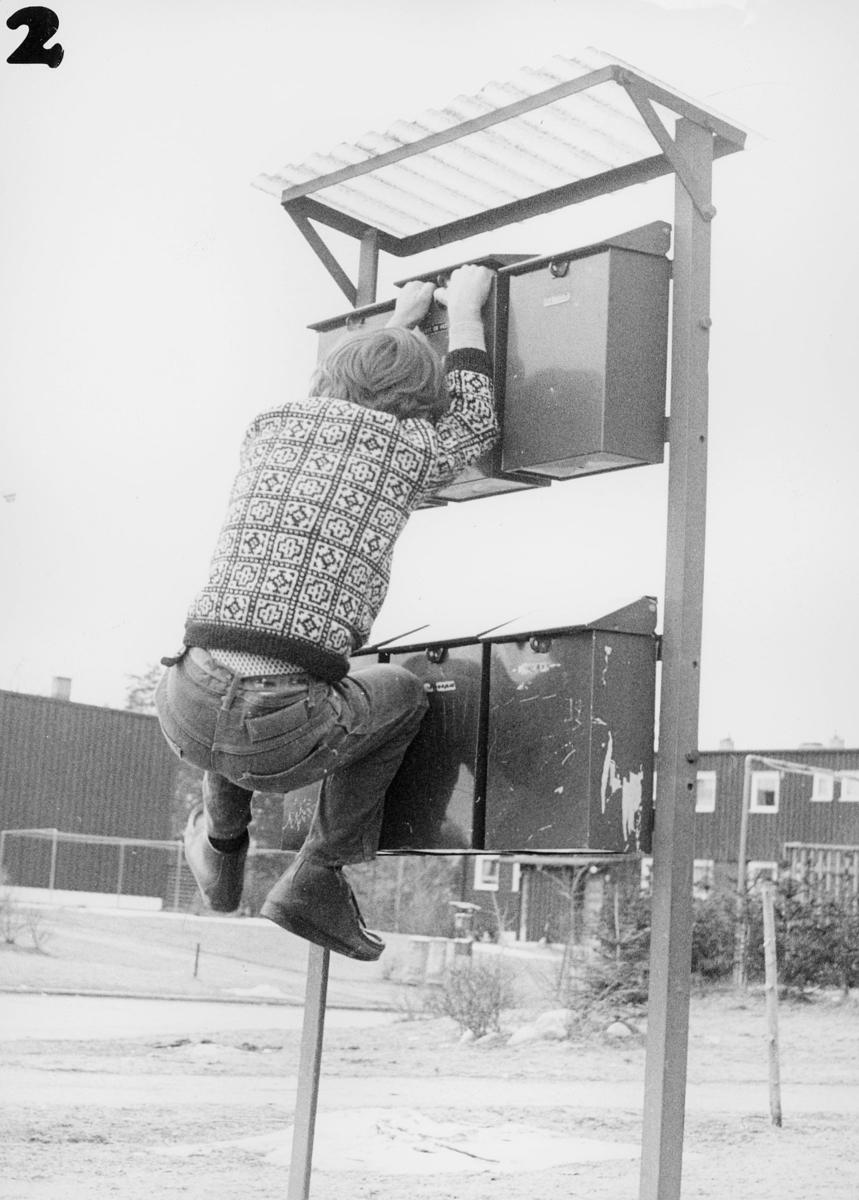 postkasser, private, eksteriør, gutt klatrer