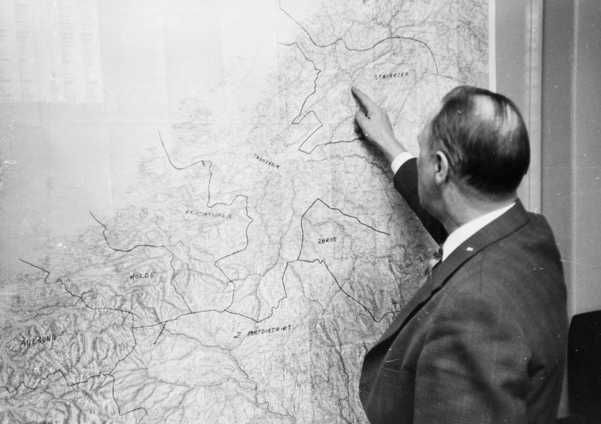 personale, 6. postdistrikt, distriktskontoret, mann, norgeskart