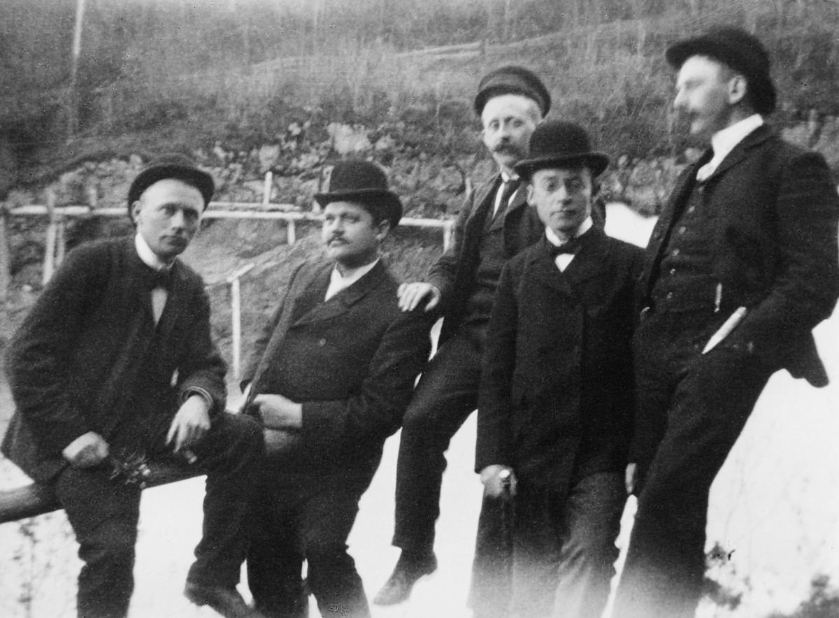 gruppebilde, Trondheim, fem menn