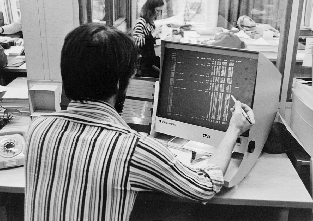 postsparebanken, Akersgata 68, Oslo, 25-års jubileum, 1975, interiør, EDB-skjerm