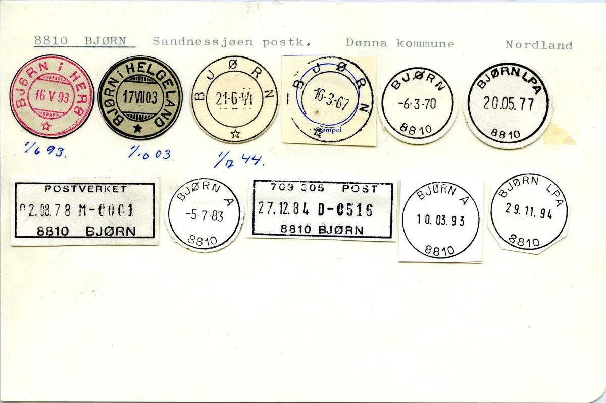 Stempelkatalog, 8810 Bjørn, (Bjørn i Herø, Bjørn i Helgeland), Dønna, Nordland