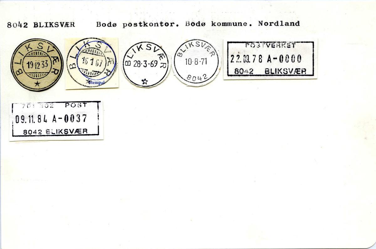 Stempelkatalog. 8042 Bliksvær, Bodø postkontor, Nordland