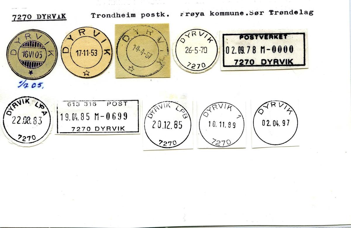 Stempelkatalog,7270 Dyrvik. Trondheim postkontor. Frøya kommune. Sør-Trøndelag fylke.