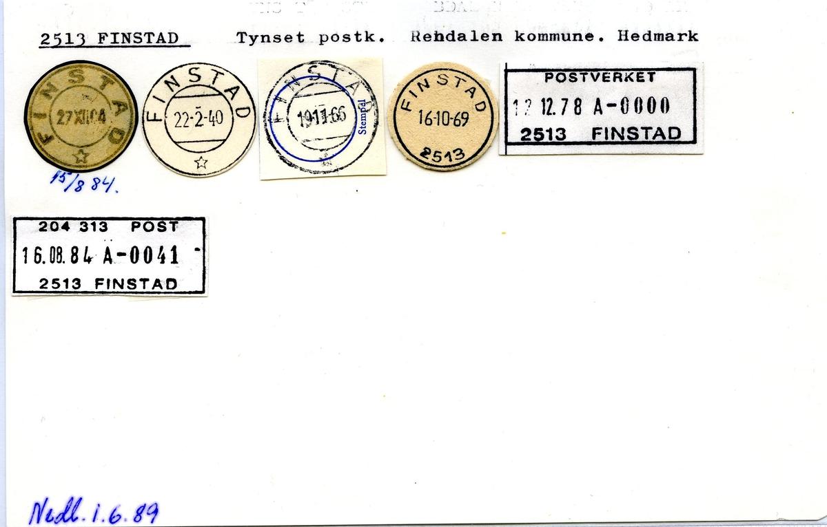 Stempelkatalog, 2513 Finstad, Tynset postk., Rendalen komm., Hedmark