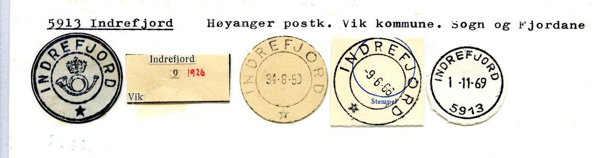 Stempelkatalog. 5913 Indrefjord. Høyanger postkontor. Vik kommune. Sogn og Fjordane fylke.