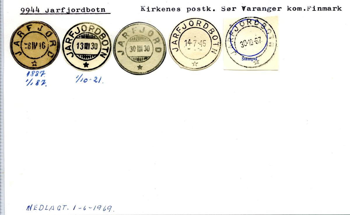 Stempelkatalog. 9944 Jarfjordbotn, Kirkenes postk., Sør-Varanger kommune, Finnmark