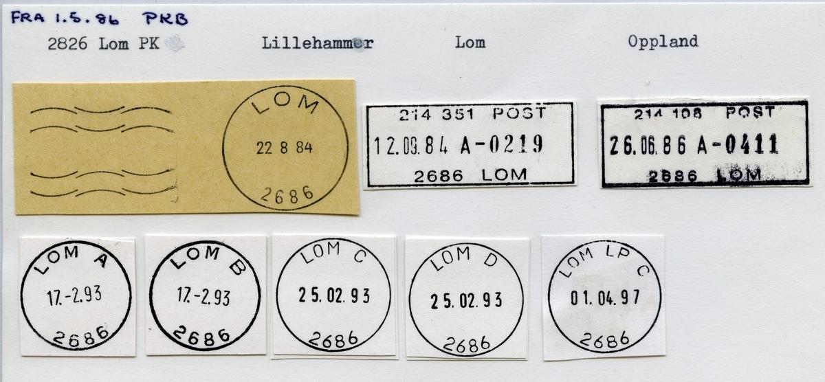 Stempelkatalog,2686 Lom, Lom kommune, Oppland