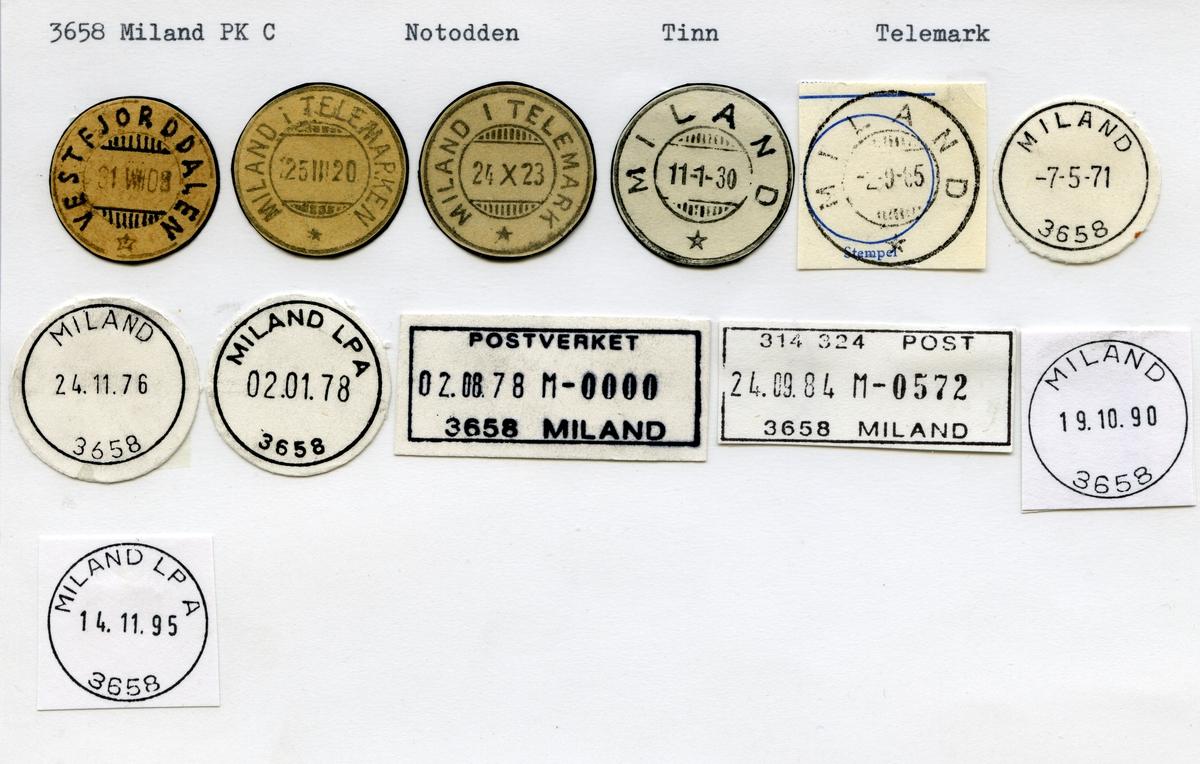 Stempelkatalog 3658 Miland, Tinn kommune, Telemark (Vestfjorddalen)