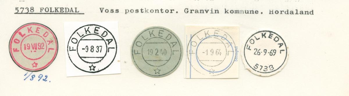 Stempelkatalog.Folkedal, Voss postk., Granvin kommune, Hordaland