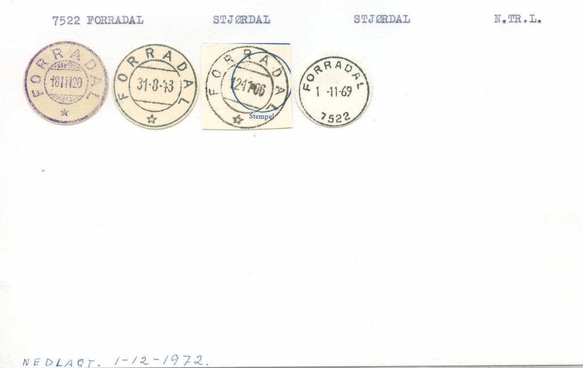 Stempelkatalog.7522 Forradal. Stjørdal postkontor. Stjørdal kommune. Nord-Trøndalg fylke.