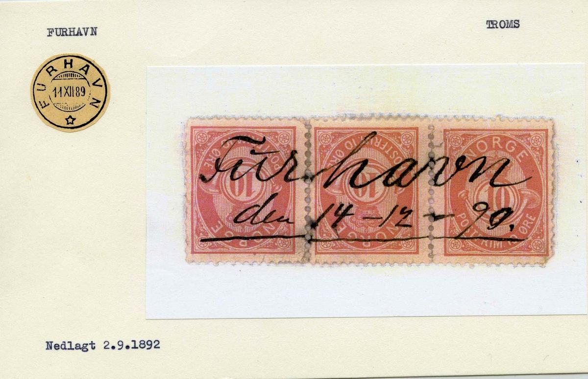 Stempelkatalog.Furhavn, Troms (nedl. 2.9.1892)