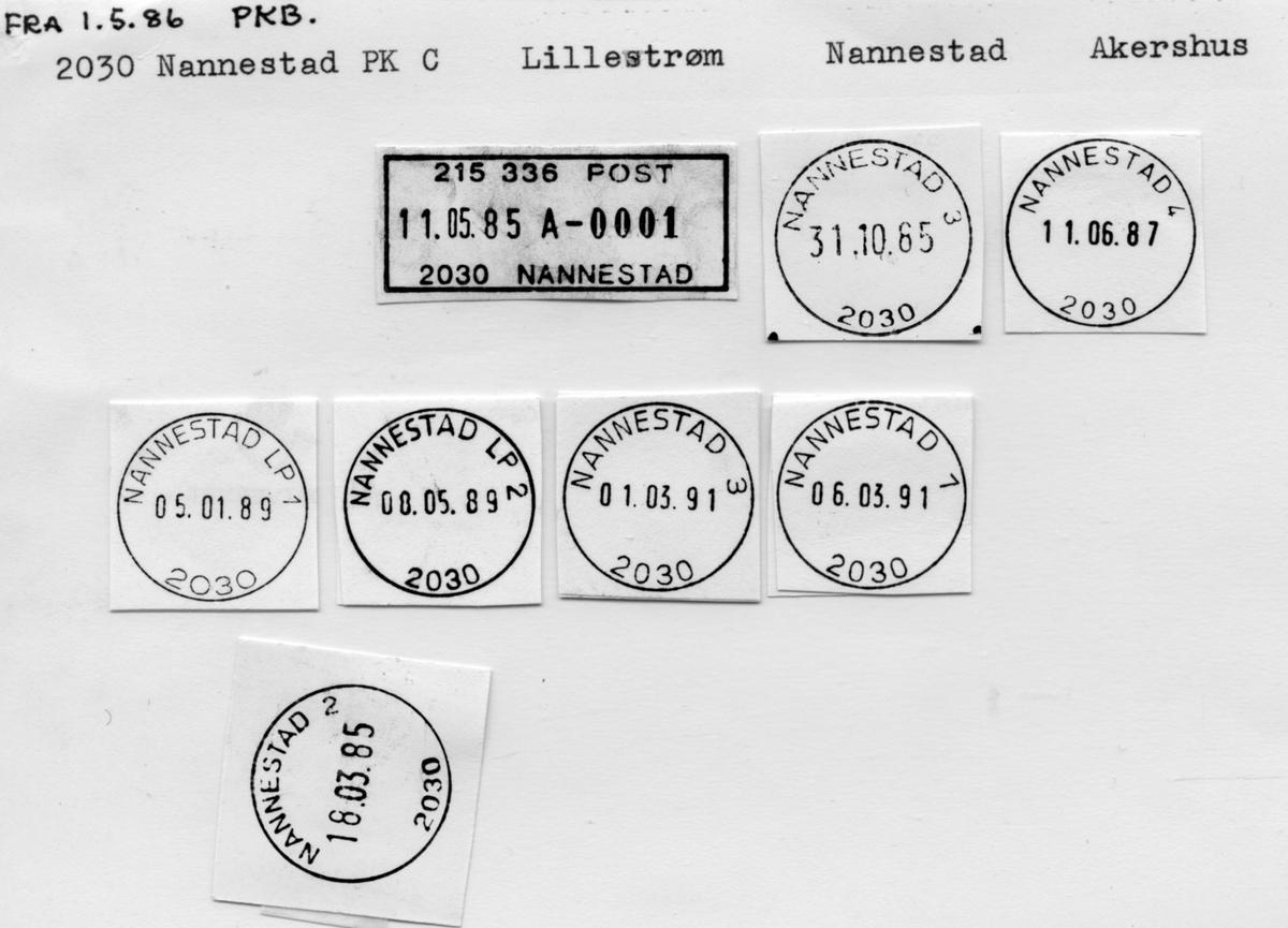 Stempelkatalog 2030 Nannestad, Lillestrøm postk, Nannestad kommune, Akershus