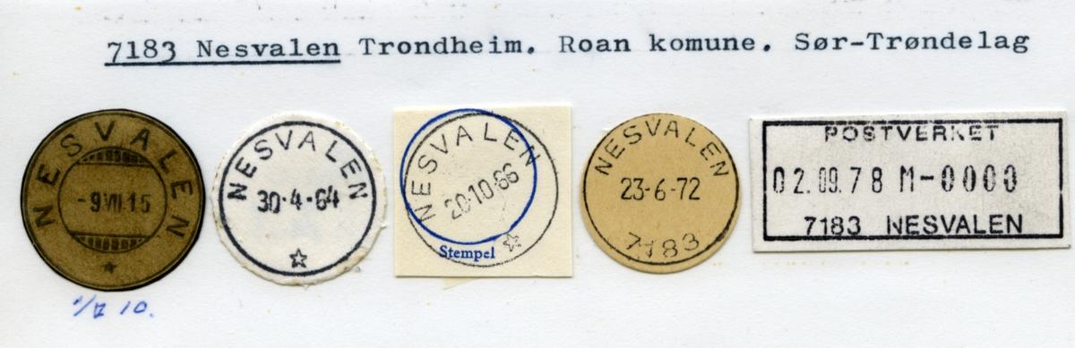 Stempelkatalog  7183 Nesvalen, Trondheim, Roan, Sør-Trøndelag