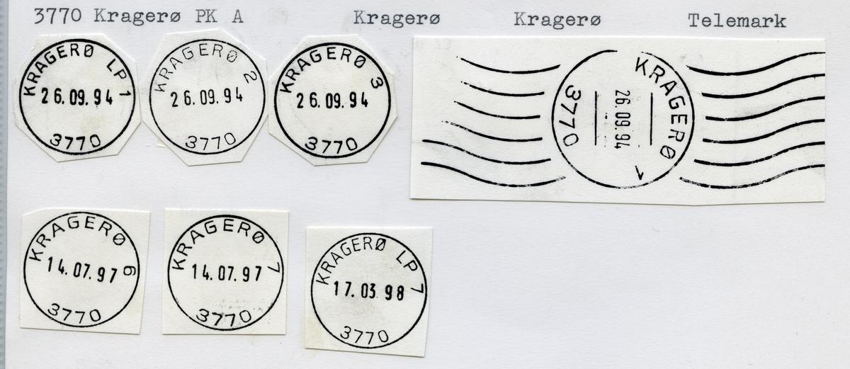 Stempelkatalog  3770 Kragerø, Kragerø kommune, Telemark